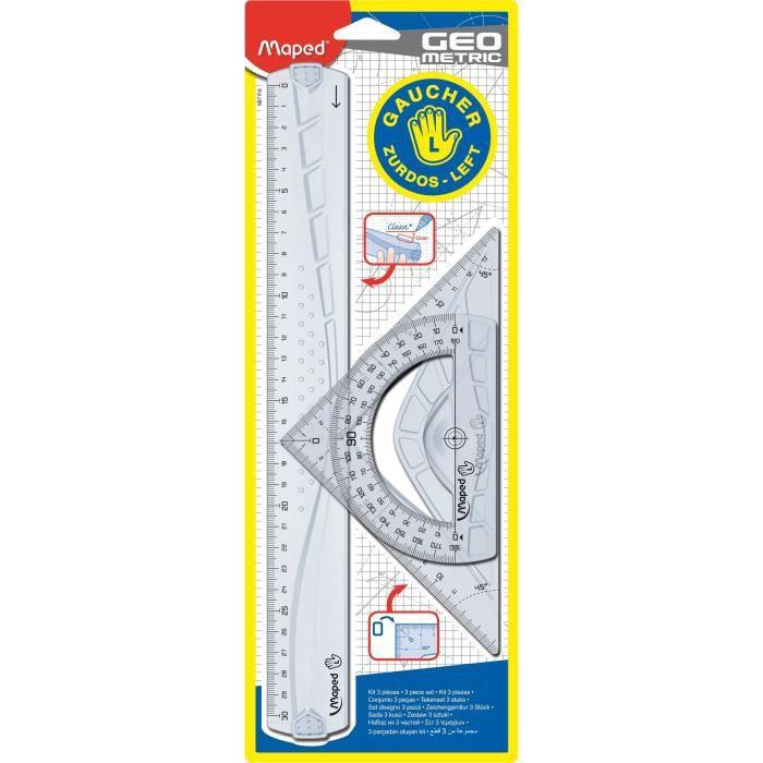 MAPED - Kit de 3 pièces de traçage Geometric - Pour gaucher