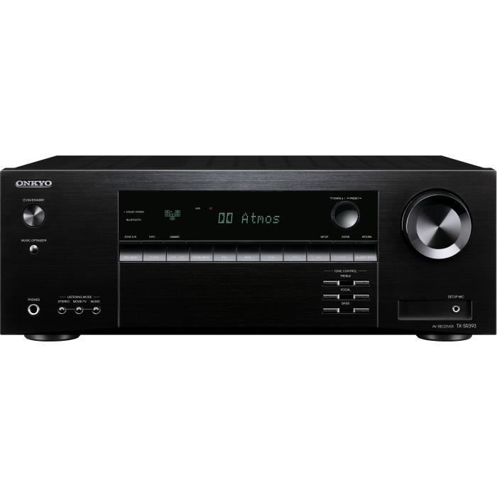 ONKYO TX-SR393 Noir - Ampli Home Cinéma 5.2 - Bluetooth 4.2 - Puissance 5 x 135 Watts - Compatible Dolby Atmos - HDMI 4K HDR