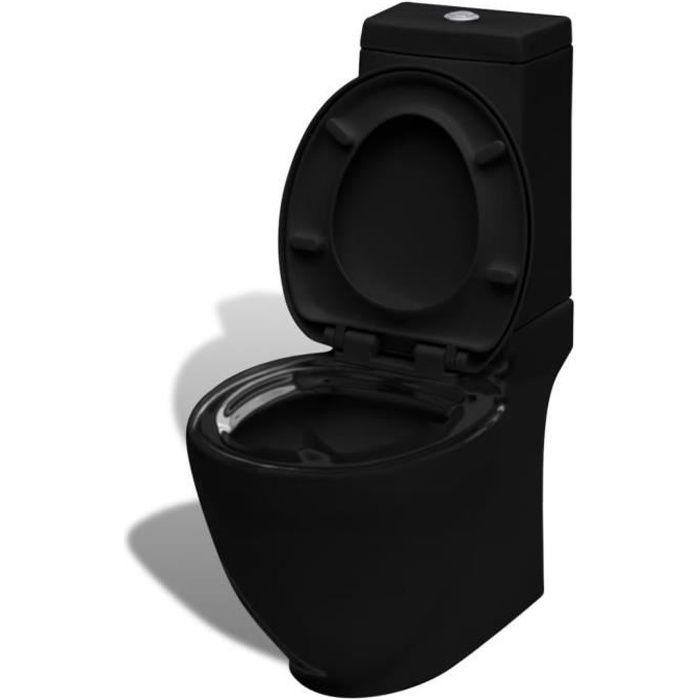 Toilette avec réservoir 65 x 40 x 85 cm Toilettes et bidets carré Noir Toilette portable Pack WC complet