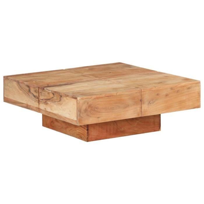 Table basse 80x80x28 cm Bois d'acacia massif