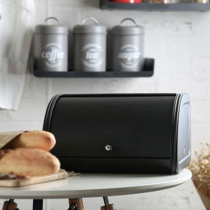 Récipients de stockage de cuisine de boîte à pain la boîte de stockage d'ustensiles de cuisine de couvercle de petit pain (Noir)
