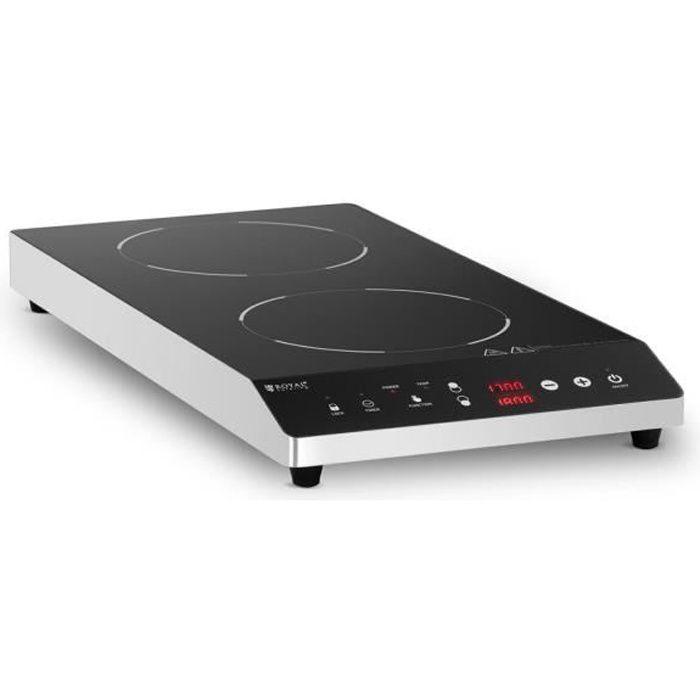 Plaque à Induction Table De Cuisson Pro Royal Catering RCIC-1800P6 (2 Foyers ø 22 cm, Jusqu'à 3 500 W, 60 à 240 °C, Écran LED)