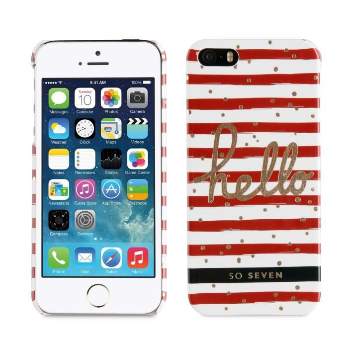 SO SEVEN Bundle BORD DE MER Coque+STYLO+CARNET-Rouge IPHONE 5S/SE