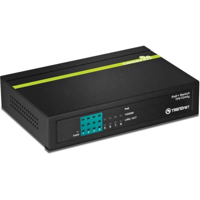 TRENDNET - TPE-TG44G - Switch Gigabit PoE+ GREENnet à 8 ports