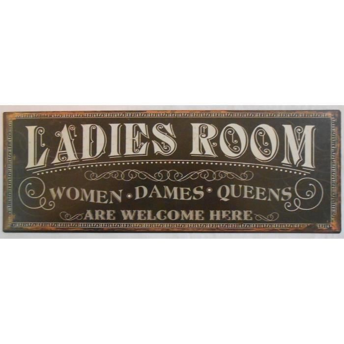 Plaque d corative m tal ladies room 13x36 cm achat for Plaque murale decorative metal