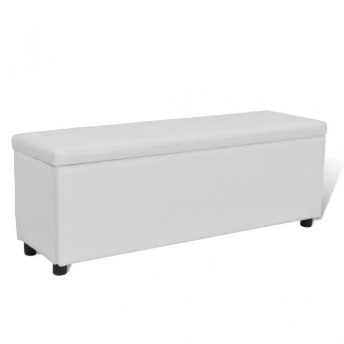 banquette banc coffre de rangement blanc 119 cm 3002001 achat vente banquette cdiscount. Black Bedroom Furniture Sets. Home Design Ideas