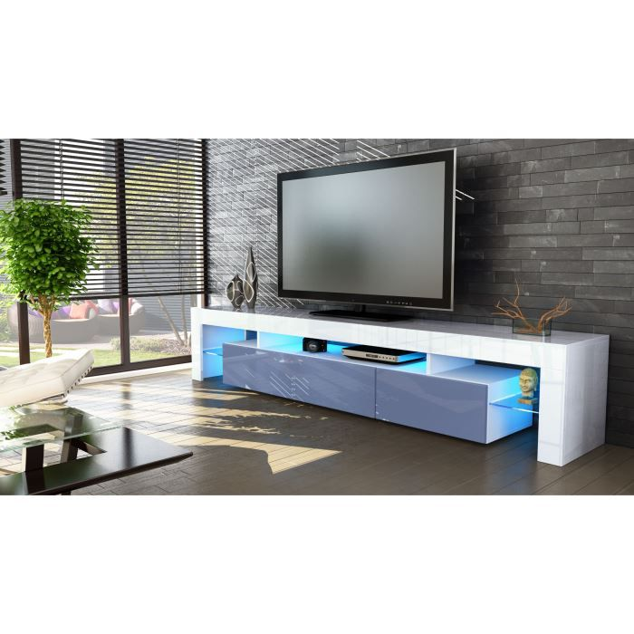 meuble tv 199x35x38 laqu blanc et gris achat vente. Black Bedroom Furniture Sets. Home Design Ideas