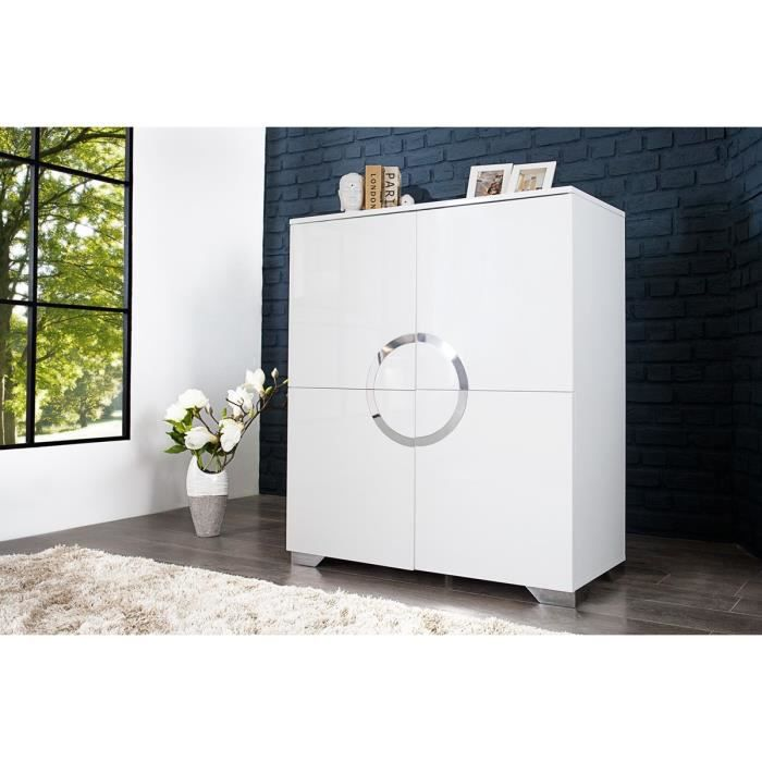 buffet haut design blanc laqu 4 portes osmoz 120 cm. Black Bedroom Furniture Sets. Home Design Ideas
