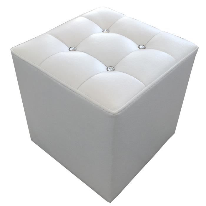 Pouf design cube en pu blanc avec strass achat vente for Pouf design contemporain