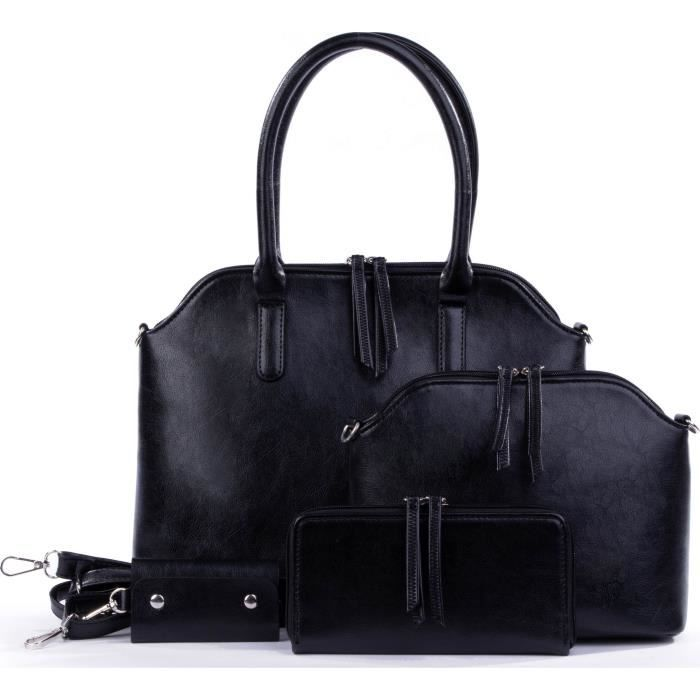 7f1b53a1e3 Set de Sacs Noir - Sac à Main + Sac à Bandoulière + Portefeuille ...