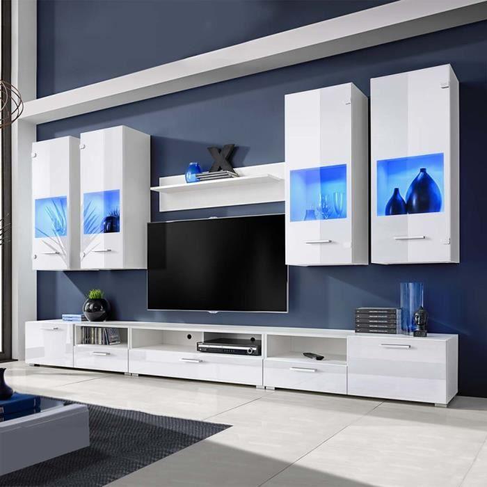 8 Pieces Meuble Tv A Vitrine Murale Blanc Avec Lumiere Led Bleu Muble Tv Mural Contemporain Scandinave Achat Vente Meuble Tv 8 Pieces Meuble Tv A Vitrine Cdiscount