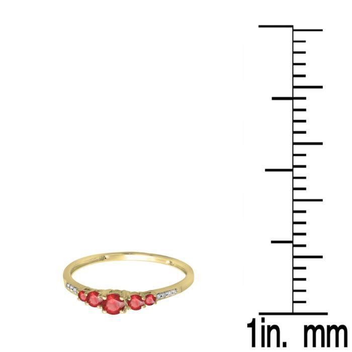Bague Femme 14 ct 585-1000 Or Jaune RondRubis Diamants 5 Pierres