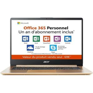 "Vente PC Portable PC Ultrabook - ACER Swift 1 SF114-32-P54K - 14"" FHD - Pentium N5000 - RAM 4Go - Stockage 64Go - Windows 10 S + Office 365 - Bronze pas cher"