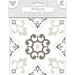 STICKERS 6 stickers carreaux de ciment Blanc 15 x 15 cm