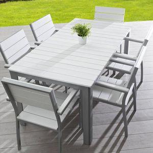Ensemble Table aluminium et composite avec 6 fauteuils ...