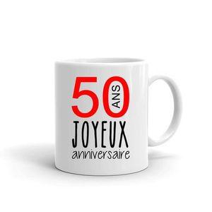 BOL - MUG - MAZAGRAN mug - Blanc LMK JOYEUX ANNIVERSAIRE 50 ANS