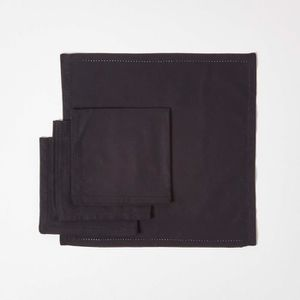 SERVIETTE DE TABLE Lot de 4 serviettes de table 100% coton  Noir