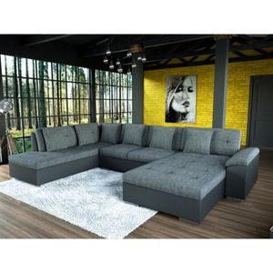 CANAPÉ - SOFA - DIVAN Canapé d'angle 7 places SMILE gris et noir design