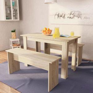 TABLE À MANGER COMPLÈTE Table de salle à manger et bancs 3 pcs Aggloméré C