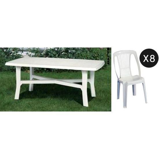 Salon jardin en plastique blanc table + 8 chaises - Achat ...