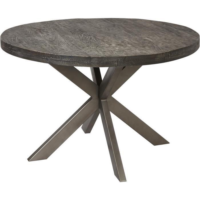 Table de repas ASUNA Gris - plateau Bois Mango Massif pieds Metal Noir 120 x 120