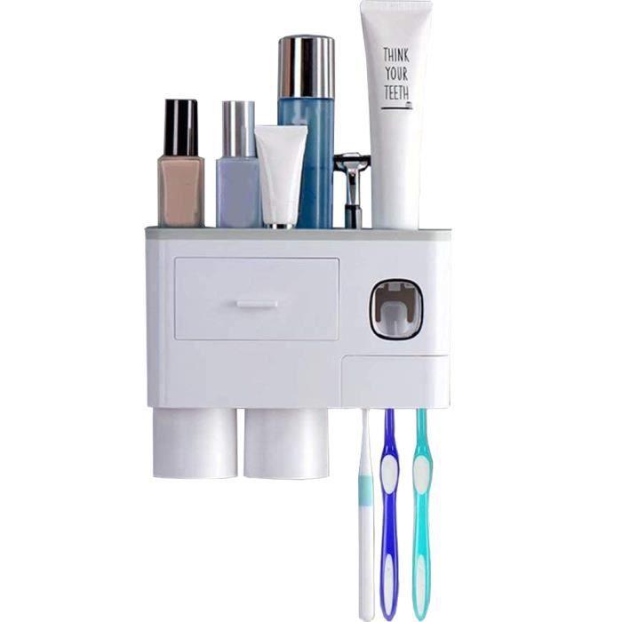 Distributeur Automatique de Dentifrice Porte Brosse à Dents Mural Adapté pour Distinguer la Brosse à Dents Adulte et Enfant