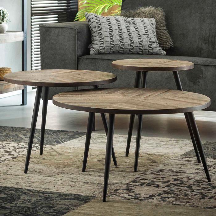 Table basse gigogne en bois ELVINA Gris L 70 x P 70 x H 39 cm