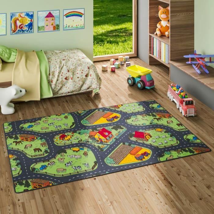 Tapis de jeu pour enfant ferme motifs village vert - 17 tailles disponibles [100x100 cm]