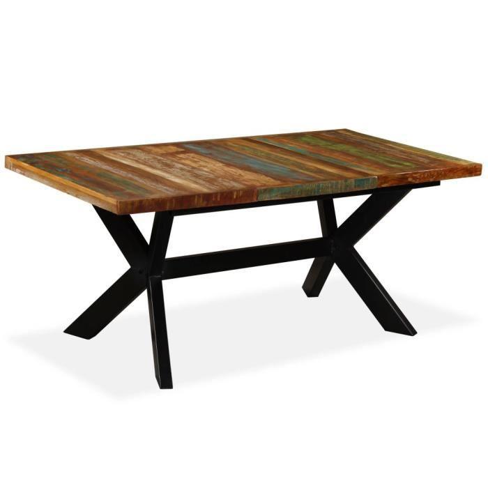 MEXP - Table à manger Table de Repas TABLE CUISINE pour 4 à 6 personnes - Table de Repas - Bois massif recyclé Acier 180 cm😺7834