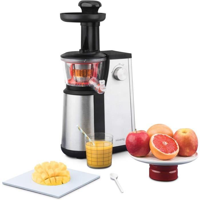 Extracteur de Jus de Fruits et Légumes vertical GSX12 H.Koenig Noir/Inox Centrifugeuse Vitamin + sans BPA - 82 mm Large Bouche - Pre