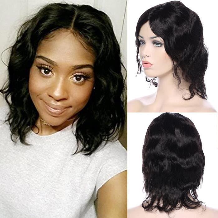 Extensions de cheveux et perruques et accessoires Perruque courte ondulée 7A Noir, cheveux humains Brésiliens, aspect na 248815