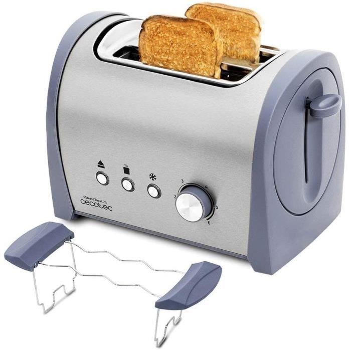 Cecotec Grille-pain en Acier Steel&Toast 2 S. 6 Niveaux de Puissance, Pour 2 Toasts , 3 Fonctions: Faire griller, Réchauffer, Décong