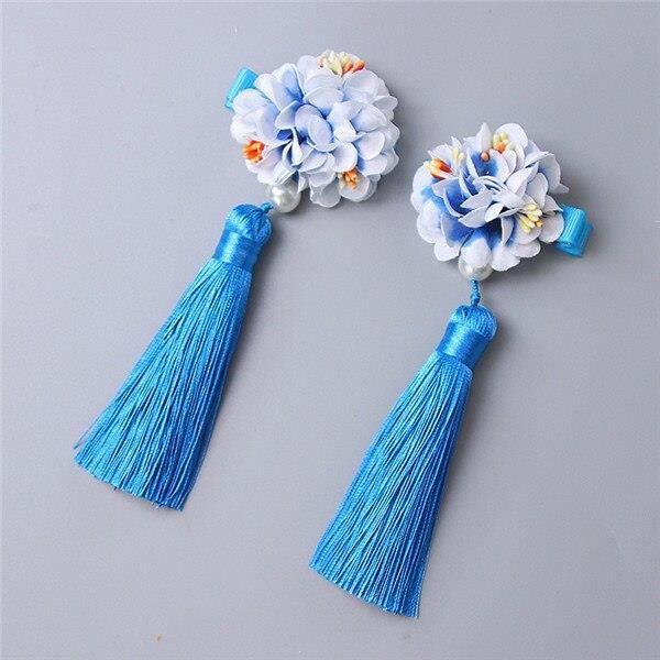 Pinces à cheveux de princesse chinoise pour filles, 2 pièces-lot, accessoires pour cheveux~Bleu WL11178