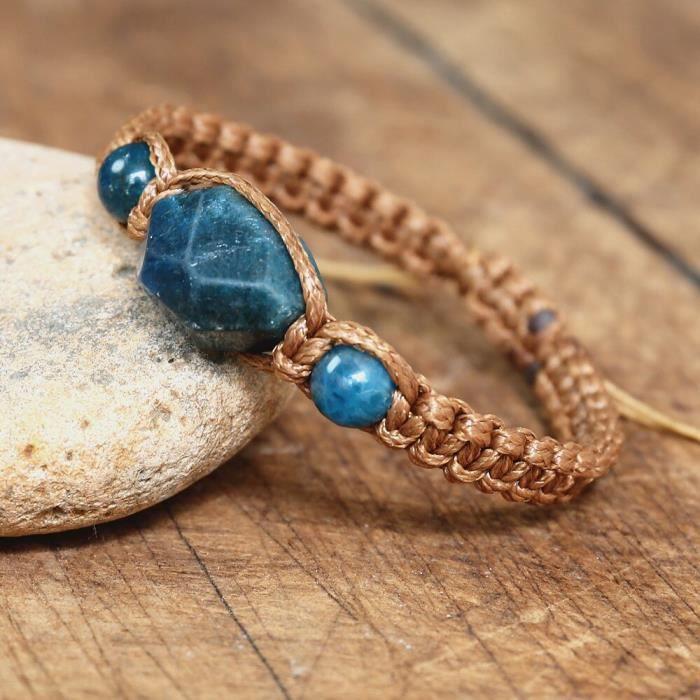 Bracelet en Apatite pour hommes et femmes, bijoux faits à la main en pierre naturelle, chaîne tressée, breloqu CN44654922