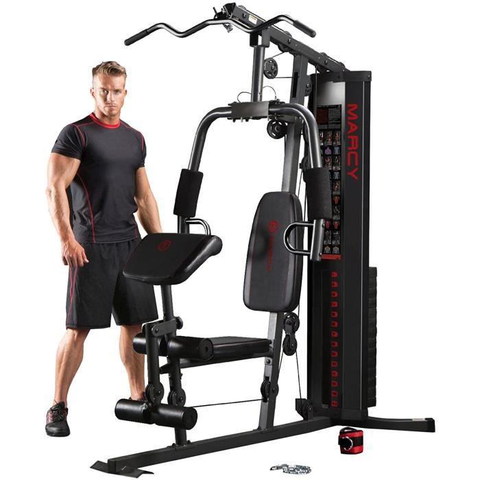 Eclipse HG3000 – Station de musculation multifonction- Appareil de musculation à charge guidée- Home Gym compacte avec colonne[441]