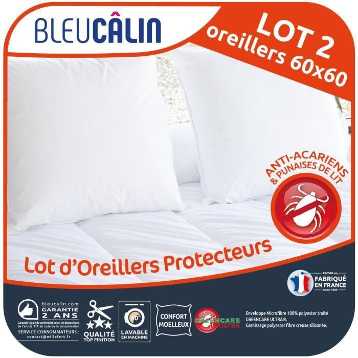 BLEU CALIN Lot de 2 Oreillers 60x60cm Protecteurs Anti-punaises de lit et Anti-acariens – Blanc