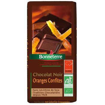 Bonneterre Chocolat noir oranges confites 100g
