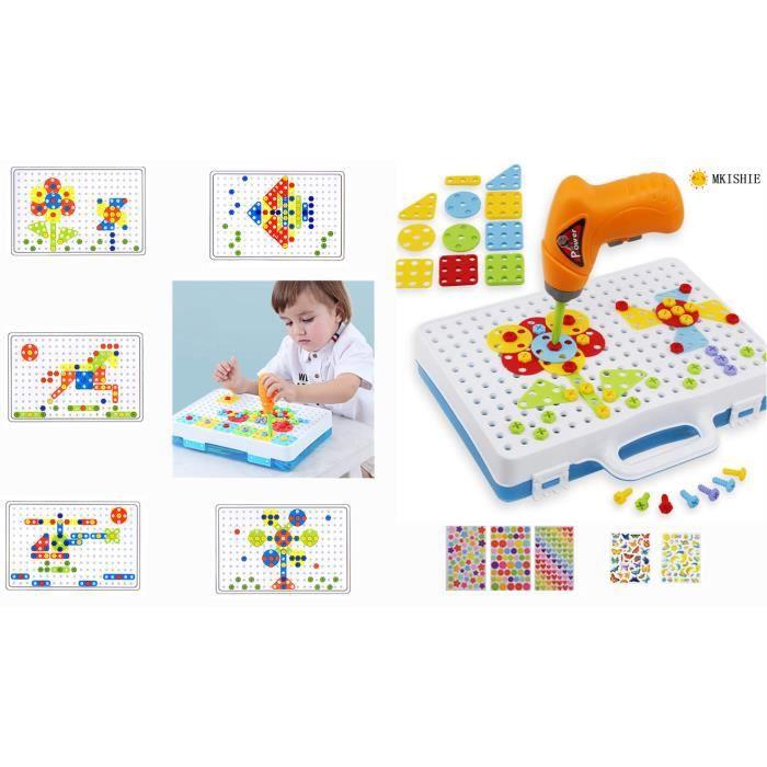 Mosaique Enfant,Jeux De Construction Mosaïque Jouet Assemblage 3D Puzzle Jeux Educatif Cadeau avec Perceuse Électrique pour Enfant