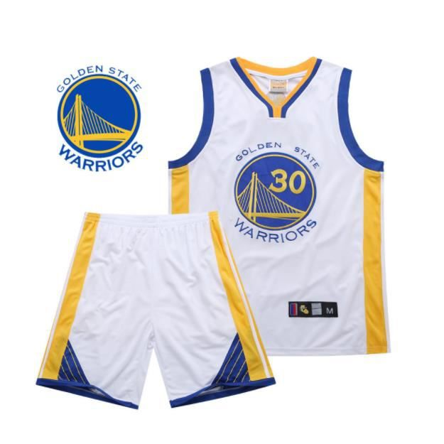 NBA Warriors Golden State # 30 Stephen Curry Broderie Costume Uniforme de basket Basketball clothes-Blanc