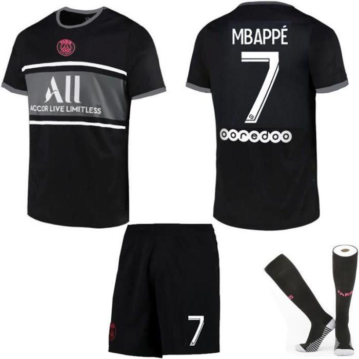 Maillot de Football 2122 une collection de Paris-Mbappé 7 Maillot Extérieur Noir Tenue + Chaussette Tissu Respirant pour Adulte