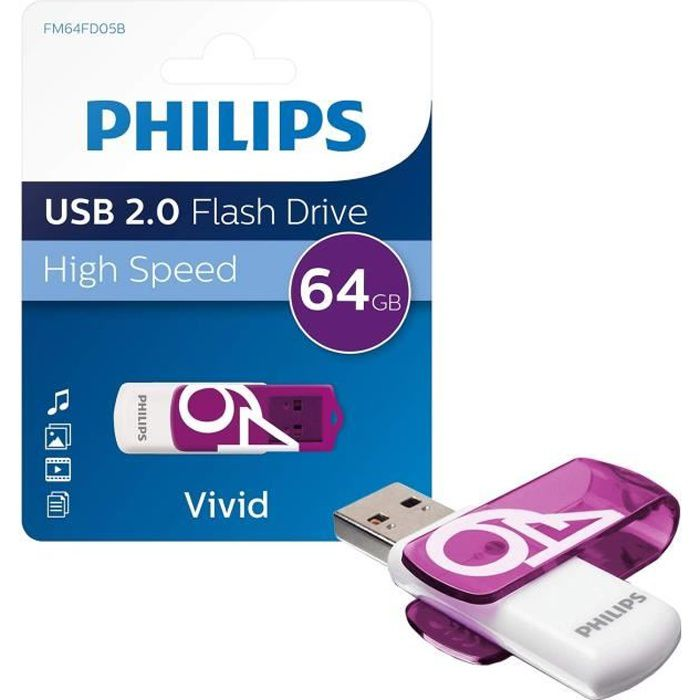 PHILIPS Clé USB VIVID 64Gb 2.0