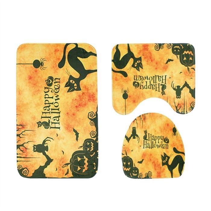 Tapis de bain 3 en 1 avec motif Halloween Tapis antidérapants Tapis de sol Contour (Jaune)