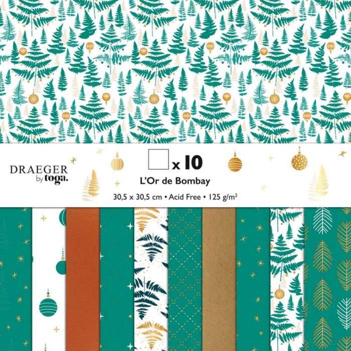 Papier Scrapbooking Toga - Motifs verts et dorés - 30,5 x 30,5 cm - 10 pcs