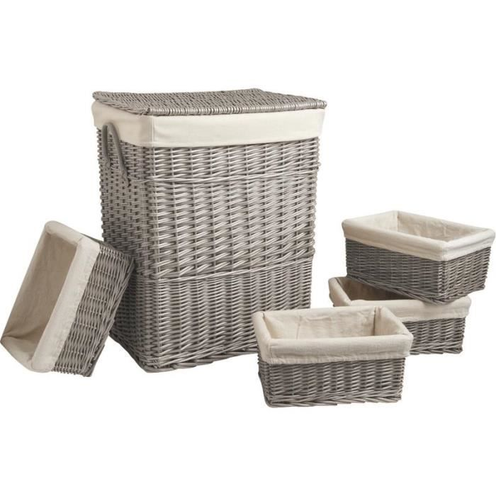 panier linge 4 corbeilles en osier gris achat vente panier a linge panier linge 4. Black Bedroom Furniture Sets. Home Design Ideas