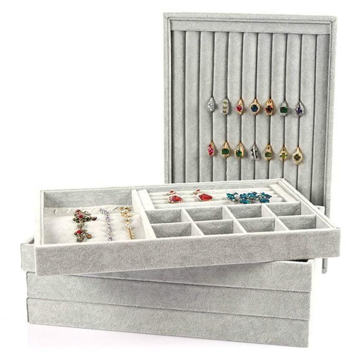 Li-ly Bracelet en Cuir de qualit/é sup/érieure avec Bracelet pr/ésentoir Collier Blanc Support Organisateur
