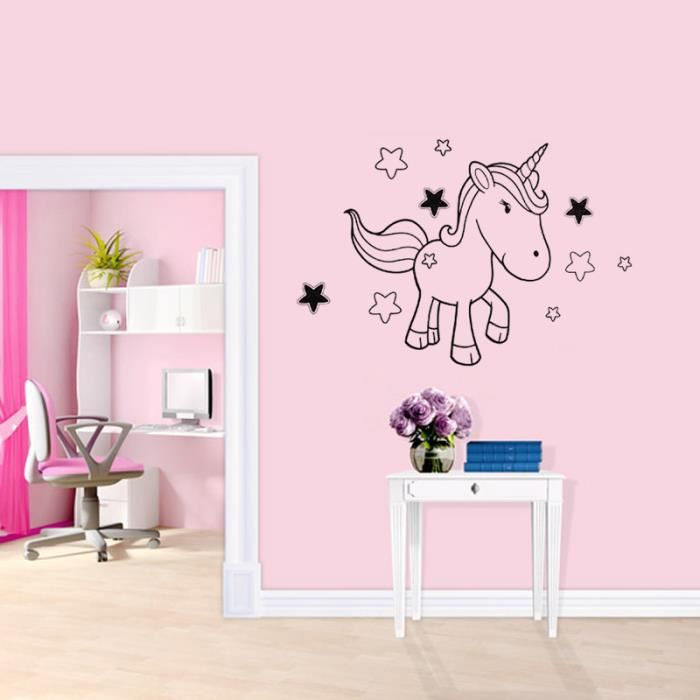 salon stickers muraux chambre d 39 enfant d coration la maison licorne 1660 fond d 39 cran achat. Black Bedroom Furniture Sets. Home Design Ideas