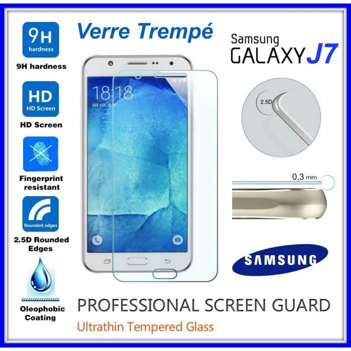 tempered glass vitre de protection en verre tremp 9h 0 3mm 2 5d pour cran samsung galaxy j7. Black Bedroom Furniture Sets. Home Design Ideas