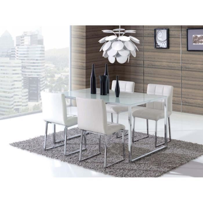 Ensemble moderne table chaises blanches achat vente for Chaises blanches modernes