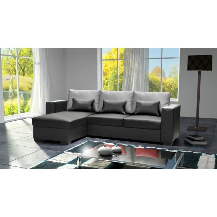 canap joe dolaro noir avec dossier gris petit coussin noir sofa divan achat vente canap. Black Bedroom Furniture Sets. Home Design Ideas