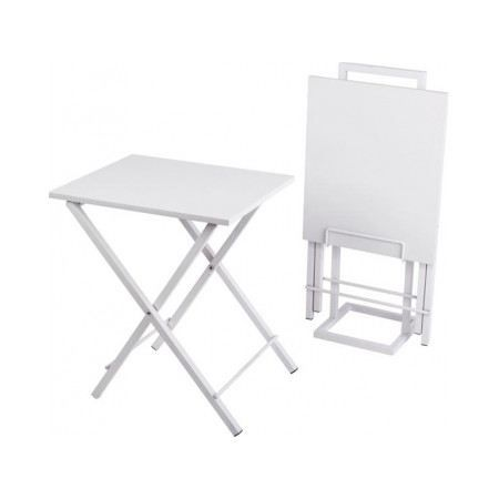 Set de 2 tables d 39 appoint pliantes blanc achat vente for Table d appoint pliante en bois